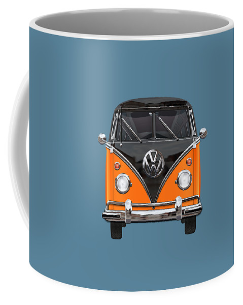 'volkswagen Type 2' Collection By Serge Averbukh Coffee Mug featuring the photograph Volkswagen Type 2 - Black And Orange Volkswagen T 1 Samba Bus Over Blue by Serge Averbukh