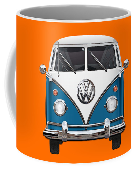'volkswagen Type 2' Collection By Serge Averbukh Coffee Mug featuring the photograph Volkswagen Type 2 - Blue And White Volkswagen T 1 Samba Bus Over Orange Canvas by Serge Averbukh