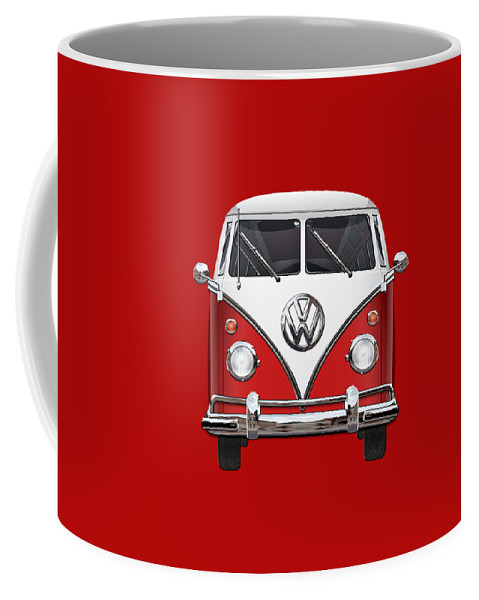 'volkswagen Type 2' Collection By Serge Averbukh Coffee Mug featuring the photograph Volkswagen Type 2 - Green and White Volkswagen T 1 Samba Bus over Red Canvas by Serge Averbukh