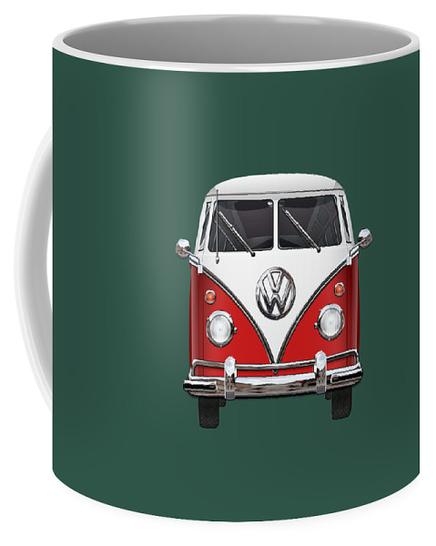'volkswagen Type 2' Collection By Serge Averbukh Coffee Mug featuring the photograph Volkswagen Type 2 - Red and White Volkswagen T 1 Samba Bus over Green Canvas by Serge Averbukh