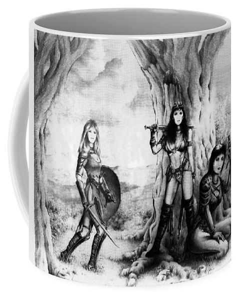 Warriors Coffee Mug featuring the drawing Warriors by Rachel Christine Nowicki