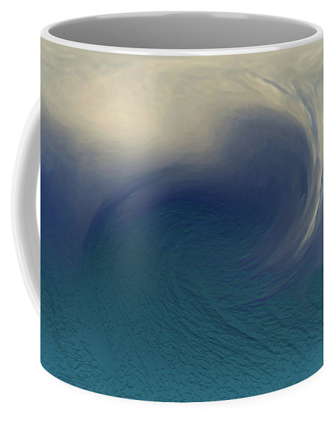 Abstract Wave Blue White Coffee Mug featuring the digital art Water And Clouds by Linda Sannuti
