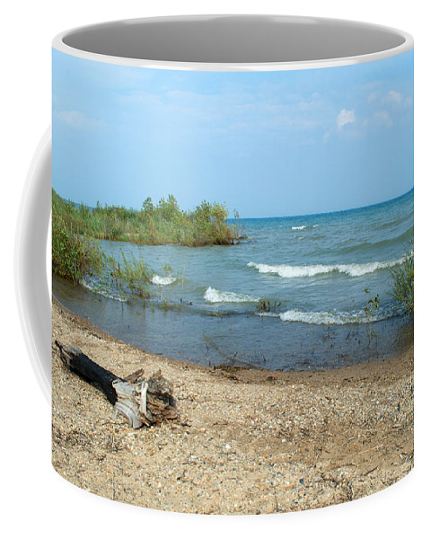 Shoreline Coffee Mug featuring the photograph Wavy Day by Linda Kerkau