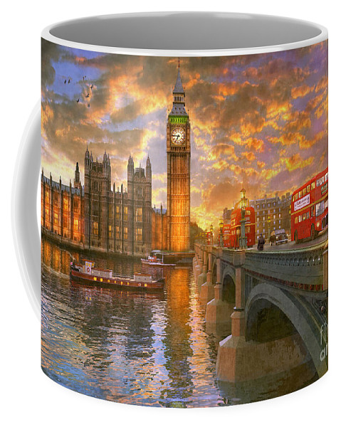 London Coffee Mug featuring the digital art Westminster Sunset by MGL Meiklejohn Graphics Licensing