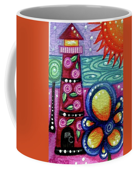 Lighthouse Coffee Mug featuring the painting Whimsical Pink Rose Floral Lighthouse by Monica Resinger