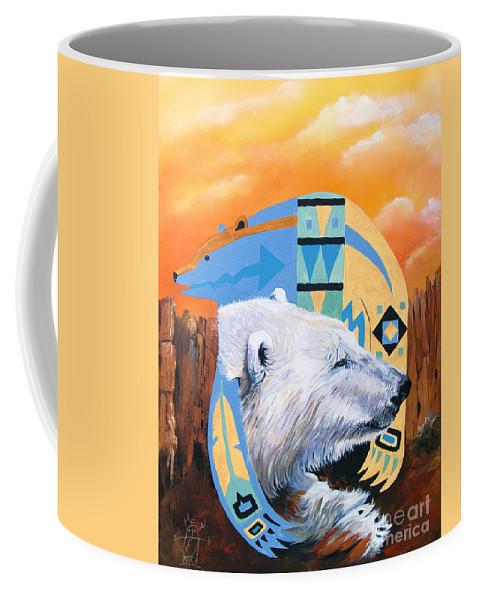 Polar Bear Coffee Mug featuring the painting White Bear Goes Southwest by J W Baker