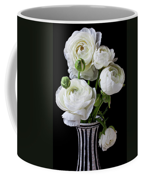 White Ranunculus Flower Vase Floral Coffee Mug featuring the photograph White Ranunculus In Black And White Vase by Garry Gay