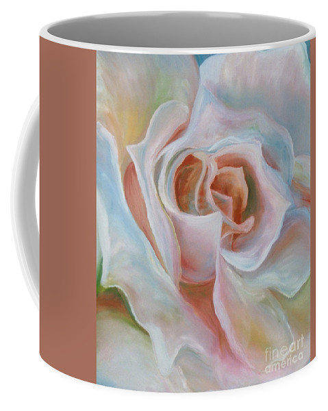 Impressionism Coffee Mug featuring the painting White Rose by Donna Hall
