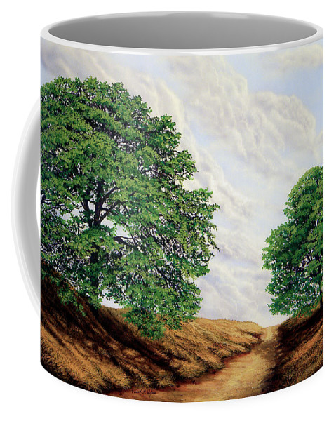 Windblown Clouds Coffee Mug featuring the painting Windblown Clouds by Frank Wilson