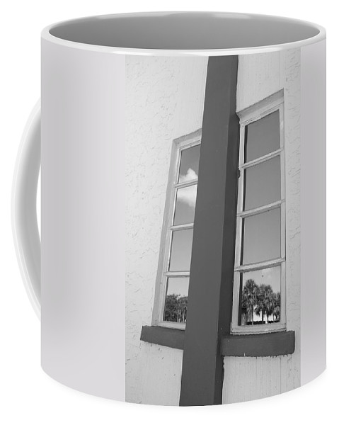 Black And White Coffee Mug featuring the photograph Window T Glass by Rob Hans