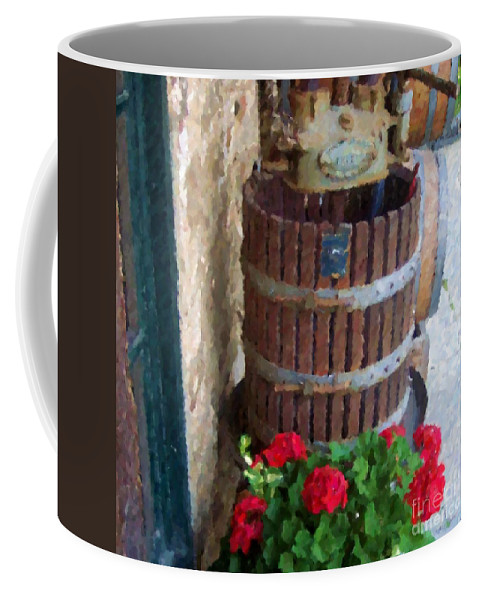 Geraniums Coffee Mug featuring the photograph Wine And Geraniums by Debbi Granruth