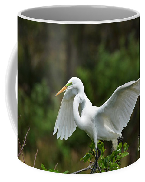 Great White Egret Coffee Mug featuring the photograph Wings Out by Julie Adair