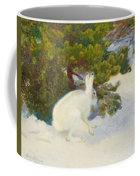Bruno Liljefors 1860-1939 Winter Hare Coffee Mug featuring the digital art Winter Hare by Mark Carlson
