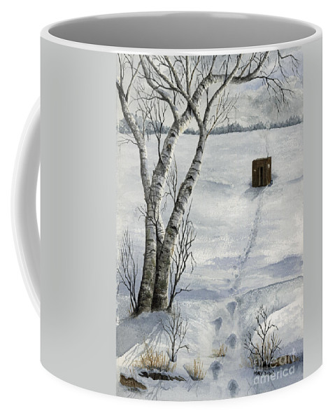 Fishing Coffee Mug featuring the painting Winter Splendor by Mary Tuomi