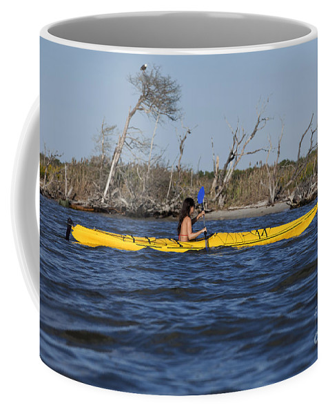 Athlete Coffee Mug featuring the photograph Woman Kayaking by Anthony Totah