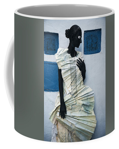 Black Coffee Mug featuring the photograph Woman With Black Boby Paint In Paper Dress by Veronica Azaryan