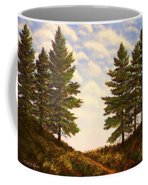 Wooded Path Coffee Mug featuring the painting Wooded Path by Frank Wilson