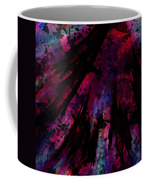 Abstract Coffee Mug featuring the digital art Words With A Red Wing by Rachel Christine Nowicki