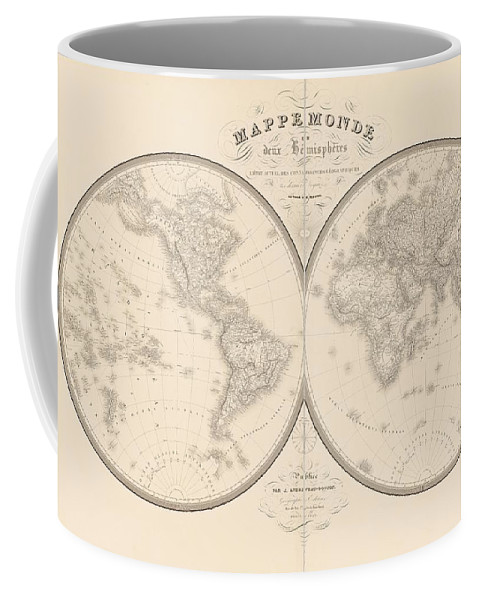 Coffee Mug featuring the mixed media World Map In Two Hemispheres by Art Makes Happy