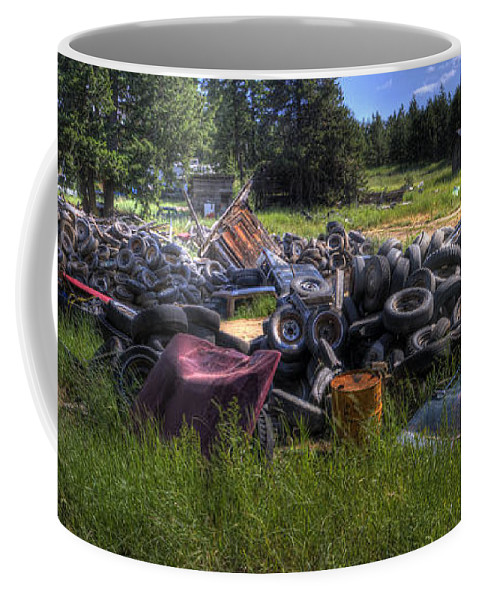 Automotive Coffee Mug featuring the photograph Wrecking Yard Study 9 by Lee Santa