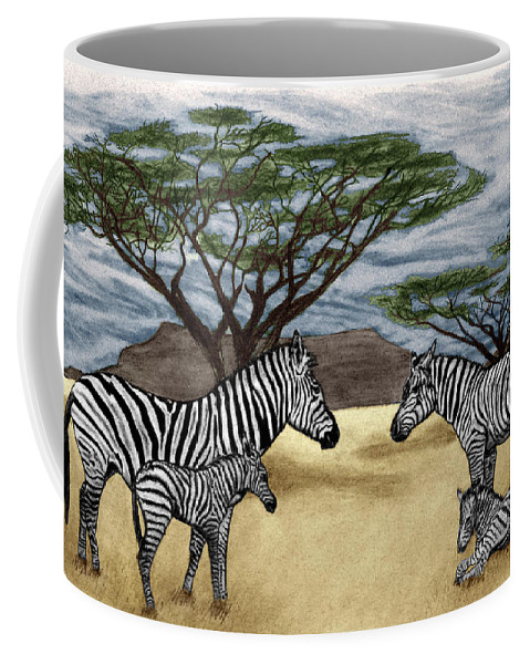 Zebra African Outback Coffee Mug featuring the drawing Zebra African Outback by Peter Piatt