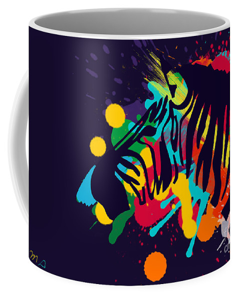 Zebra Coffee Mug featuring the painting Zebra by Mark Ashkenazi