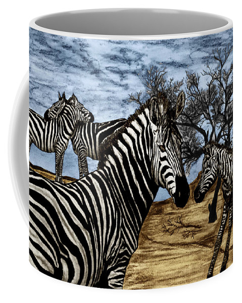 Zebra Outback Coffee Mug featuring the drawing Zebra Outback by Peter Piatt