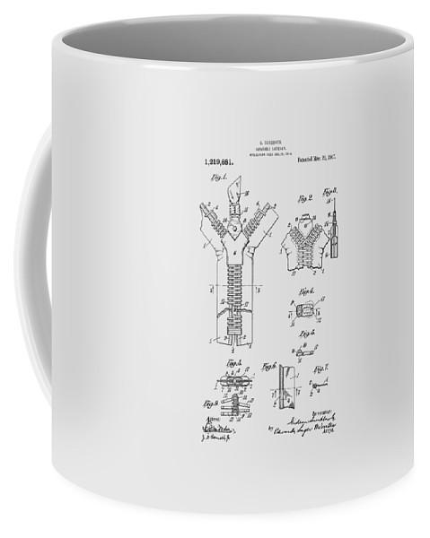 Zipper Coffee Mug featuring the photograph Zipper Patent Art by Chris Smith