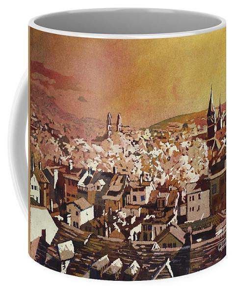 Art Prints Coffee Mug featuring the painting Zurich Skyline by Ryan Fox
