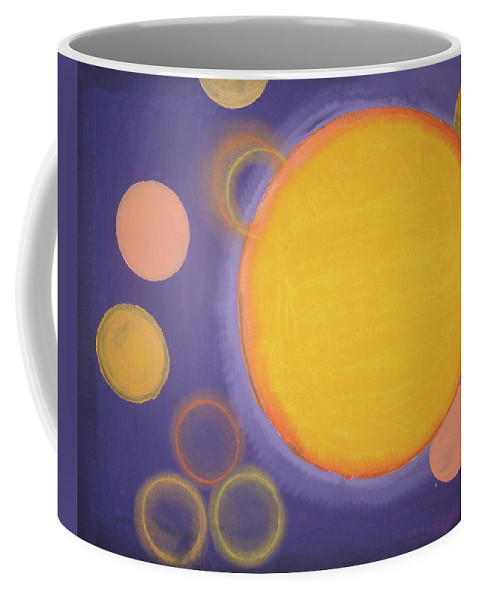 Abstract Shapes Colors Feelings Emotions Circles Yellow Purple Shades Hues Coffee Mug featuring the painting 10 Count by JJ Burner