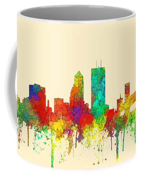 Jacksonville Florida Skyline Coffee Mug featuring the digital art Jacksonville Florida Skyline by Marlene Watson