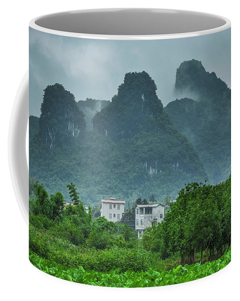 Countryside Coffee Mug featuring the photograph Karst Mountains Rural Scenery by Carl Ning