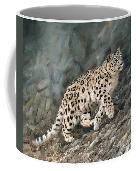Snow Leopard Coffee Mug featuring the painting Snow Leopard by David Stribbling