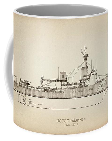 Coast Guard Coffee Mug featuring the drawing U.s. Coast Guard Cutter Polar Sea by Jose Elias - Sofia Pereira