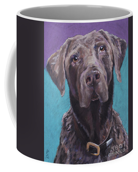 Pet Portrait Commissions Coffee Mug featuring the pastel 100 Lbs. Of Chocolate Love by Pat Saunders-White