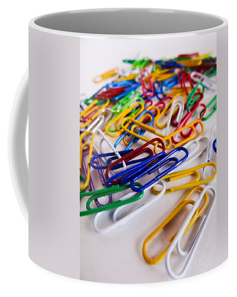 One Hundred Coffee Mug featuring the photograph 100 Paperclips by Julia Wilcox