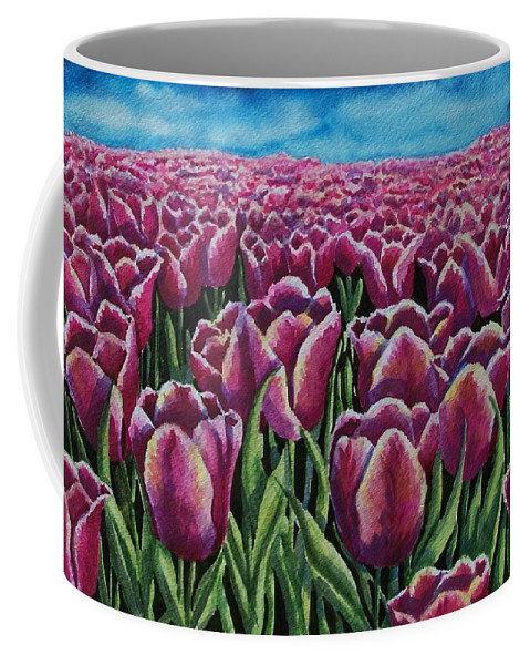 Tulips Coffee Mug featuring the painting 1000 Tulpis by Conni Reinecke