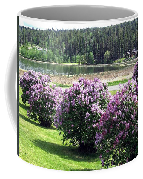 103 Mile Lake Coffee Mug featuring the photograph 103 Mile Lake Lilacs by Will Borden
