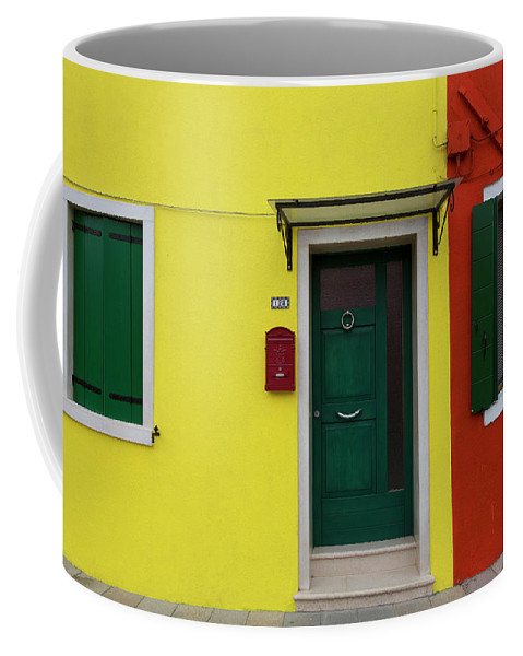 Architecture Coffee Mug featuring the photograph Burano Anisland Of Multi Colored Homes On Canals North Of Venice Italy by Bruce Beck