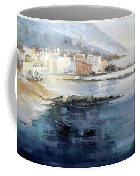 Seascape Coffee Mug featuring the painting Misty Landscape by Lucio Campana