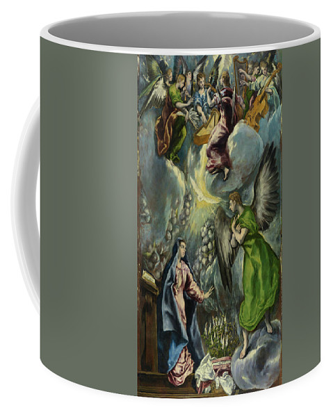Annunciation Coffee Mug featuring the painting The Annunciation by El Greco