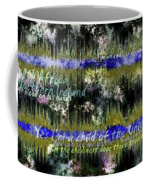 Child Coffee Mug featuring the digital art 11362 Child Of The Universe With Lyrics By Barclay James Harvest by Colin Hunt