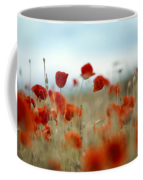 Poppy Coffee Mug featuring the photograph Summer Poppy Meadow by Nailia Schwarz