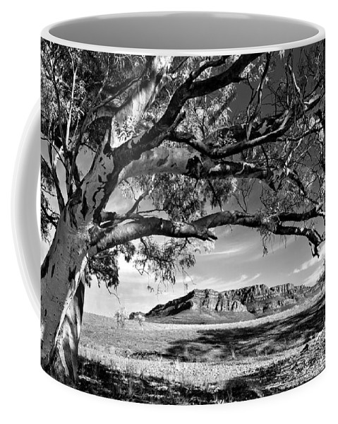 Wilpena Pound Flinders Ranges South Australia Outback Landscape B&w Black And White Monochrome Coffee Mug featuring the photograph Wilpena Pound by Bill Robinson