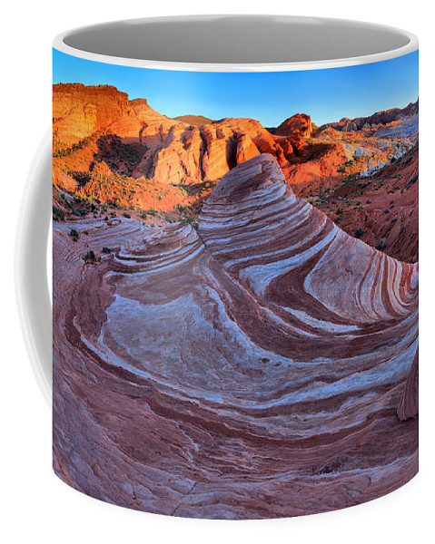 Fire Wave Coffee Mug featuring the photograph Fire Wave Panorama by Adam Jewell