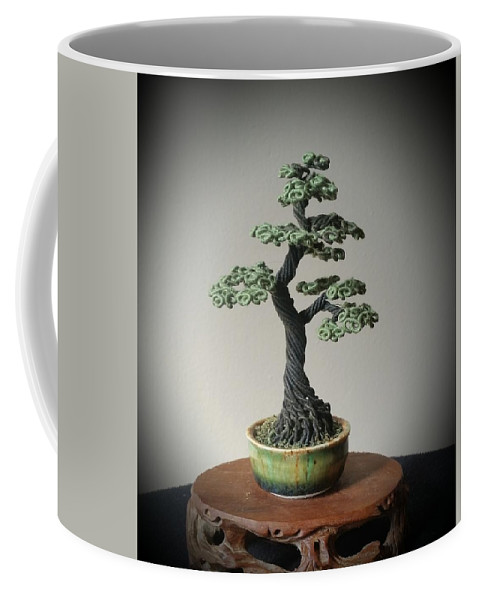 Bonsai Tree Coffee Mug featuring the sculpture #128 Cloth Wrapped Wire Tree Sculpture by Ricks Tree Art