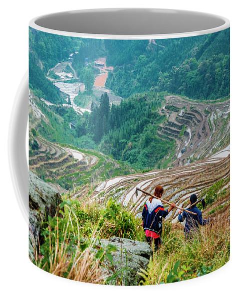 Terrace Coffee Mug featuring the photograph Longji Terraced Fields Scenery by Carl Ning