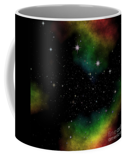 Abstract Coffee Mug featuring the digital art Abstract Stars Nebula by Miroslav Nemecek