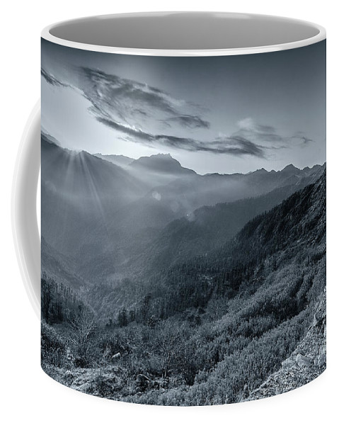 Sikkim Coffee Mug featuring the photograph Chilly Winter Sunrise At Lunhgthang Sikkim West Bengal India by Rudra Narayan Mitra