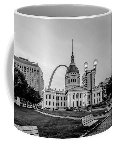 Arch Coffee Mug featuring the photograph St. Louis Downtown Skyline Buildings At Night by Alex Grichenko